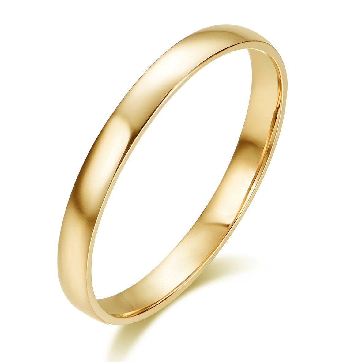 10k Solid Gold 2mm Light Comfort Fit Classic Plain Wedding Band (yellow-gold, 7.5)