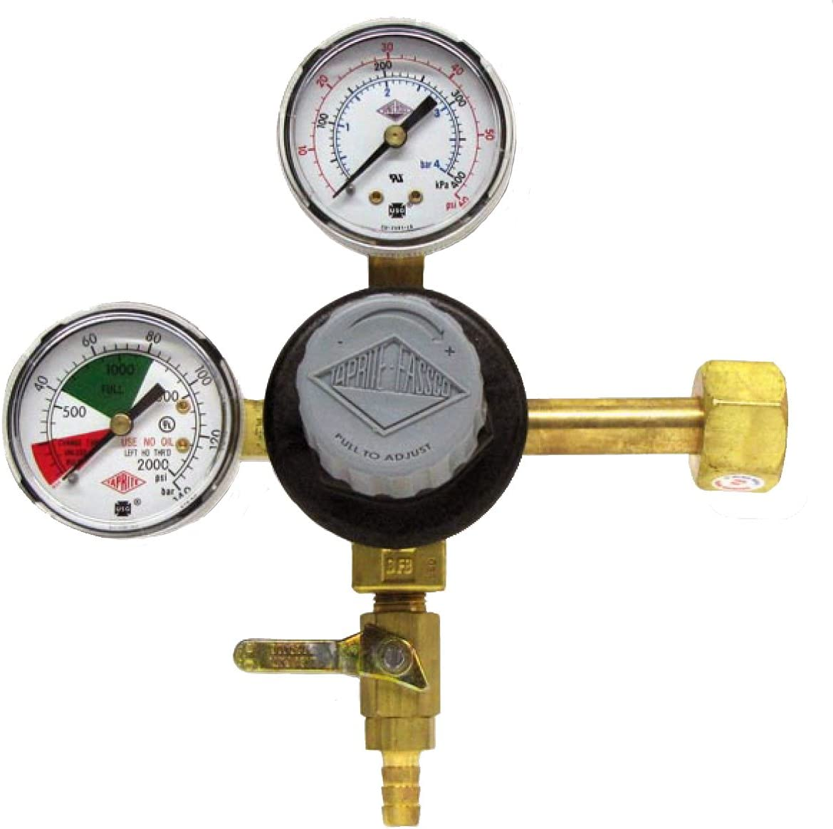 "Taprite CO2 Primary Regulator Dual Gauge with 5//16/"" Hose Barb MADE IN USA"