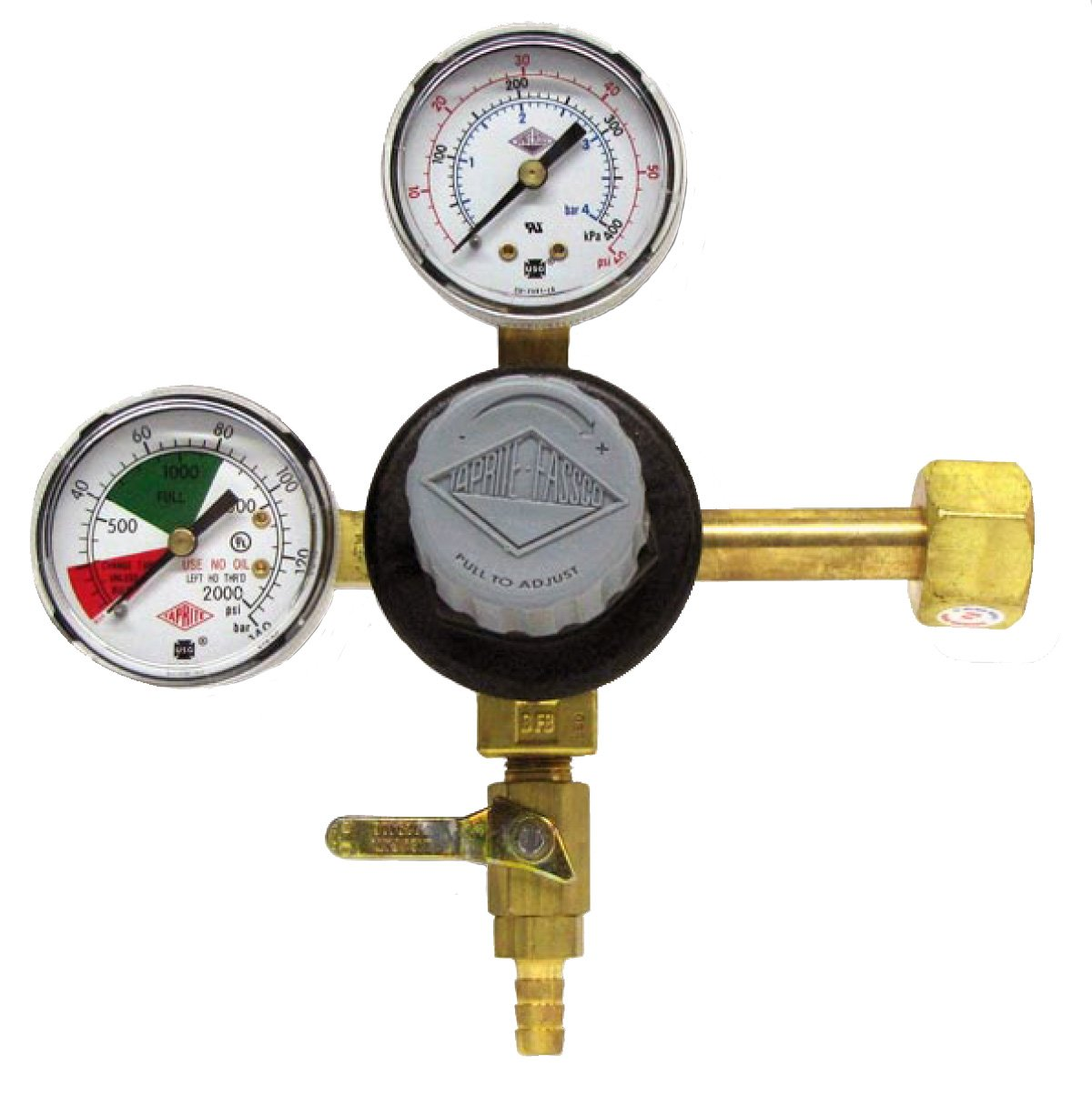 "TAPRITE E-T742 CO2 Primary Beer Dual High Pressure Gauge New - CGA 320 Inlet 5/16"" Barb Shutoff (Brass Body)"