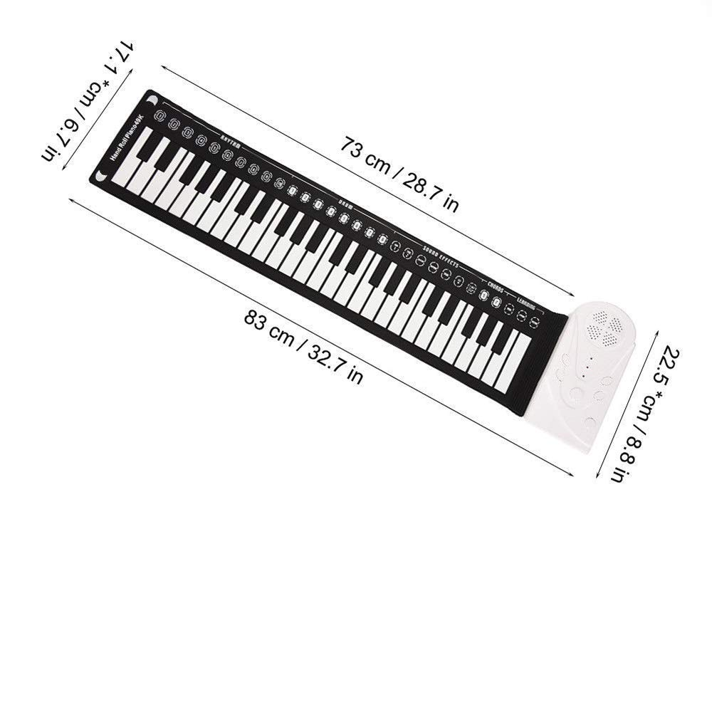 49 Key Speaker Hand Roll Electronic Piano, Portable Folding Electronic Soft Keyboard Piano Suitable for Adult Children Or Gifts for Children(Silver) by C Five (Image #6)