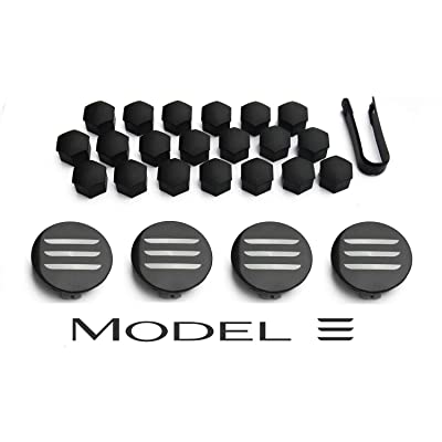 Aero Wheel Cap Kit for Tesla Model 3 - Full Set (4 Center Caps & 20 Lug Nut Covers): Automotive