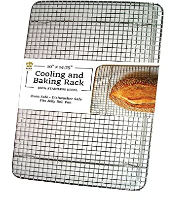 "Ultra Cuisine Professional 100% Stainless Steel Cooling & Roasting Rack fits Jelly Roll Baking Pans - Rust Resistant, Heavy Duty Wire Grid - Oven Safe for Cooking & Grilling (10"" x 14.8"")"