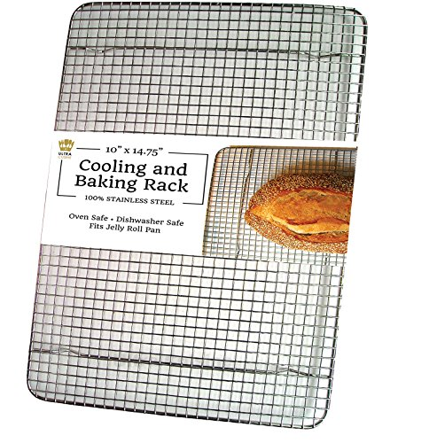 Ultra Cuisine Stainless Steel Cooling Rack for Baking fits Jelly Roll Pan - Heavy Duty Wire Grid - Oven Safe for Roasting, Cooking, Grilling (10