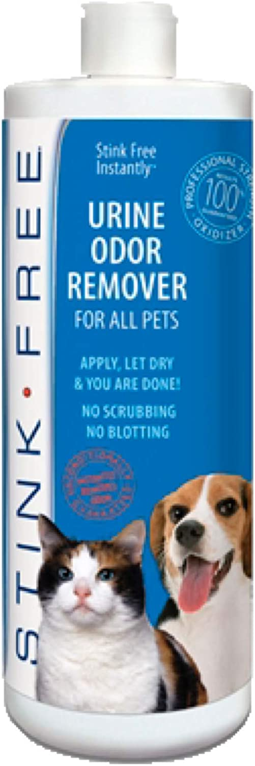 STINK FREE Instantly Pet Urine Odor Remover - Cleaner, Neutralizer, & Eliminator of Cat & Dog Pee Odor on Carpets, Rugs, Outdoor Rugs, Mattress, Floor, Etc. 32 oz. (1 Quart)