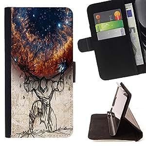 BullDog Case - FOR/Sony Xperia m55w Z3 Compact Mini / - / Planet On Shoulders /- Monedero de cuero de la PU Llevar cubierta de la caja con el ID Credit Card Slots Flip funda de cuer