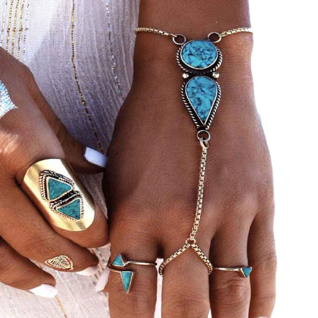 Bohemian Ethnic Vintage Adjustable Finger Ring and Slave Hand Chain Bracelet One Size Fits All (Silver)
