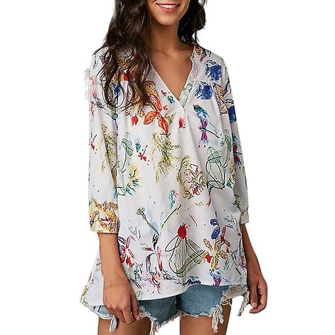 best website 39df7 8e9d9 Betrothales Donna Top A con Scollo A V Camicia Moda ...