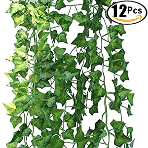 12 Strands Artificial Ivy Leaves Fake Ivy Vine Garland Artificial Hanging Plants for Wedding Party Garden Wall Decoration 12