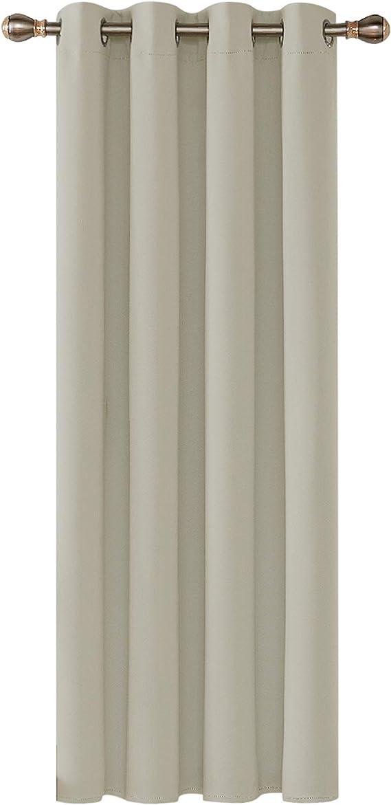 Deconovo Cortinas Opacas Térmicas Aislantes Frío y Calor de Salón Moderna 1 Pieza con Ojales 140 x 260 cm Beige Claro