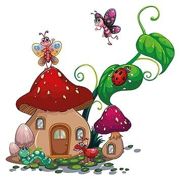 Pegatina de pared cuarto de los niños Colorida casa de hongos con ...