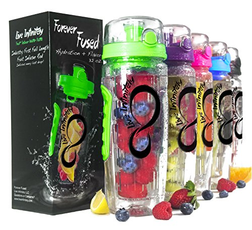 Live Infinitely 32 oz. Infuser Water Bottles - Featuring a Full Length Infusion Rod, Flip Top Lid, Dual Hand Grips & Recipe Ebook Gift (Green, 32 (Length Water)