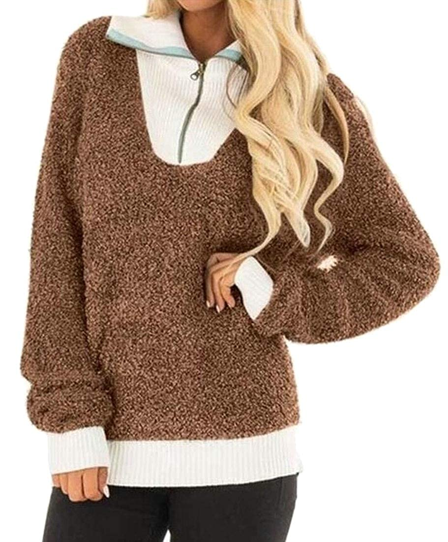 Generic Womens Long Sleeve 1//4 Zipper Sherpa Fleece Sweatshirt