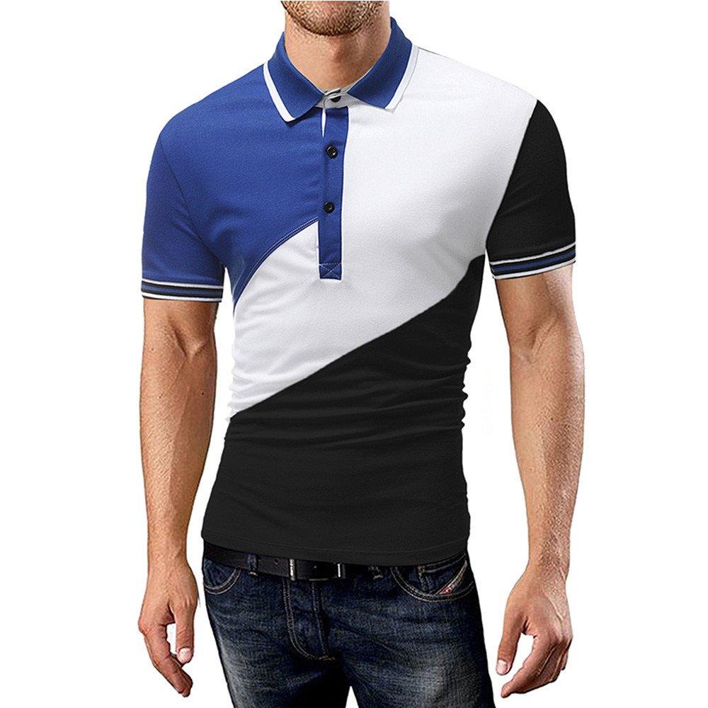 Littleice Men T-Shirt,Hot Sale 2018 Men's Splicing Patchwork Shirt Short Sleeve Blouse Tops Shirts (Black, XL)