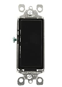 Leviton 5603-2E 15 Amp, 120/277 Volt, Decora Rocker 3-Way AC Quiet Switch, Residential Grade, Grounding, Black