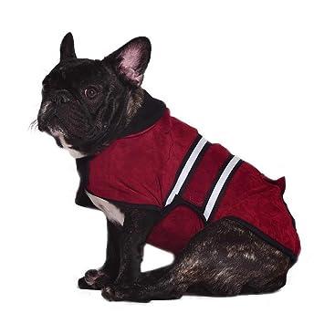 Bwiv abrigo de invierno para perros chaleco forrado de polar con bandas reflectantes y apertura para correa Rojo XL: Amazon.es: Productos para mascotas