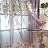 pureaqu Floral Embroidered Elegance Purple Sheer Window Curtain Drapes For Living Room Rod Pocket Top European Design Curtain Voile Tulle Panel Window Treatment For Bedroom 1 Panel W75 x H96 Inch