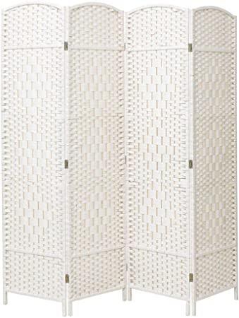 INMOZATA - Divisor plegable de mimbre con 4 paneles, color blanco: Amazon.es: Hogar