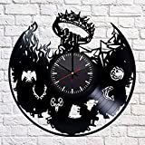 Cheap Game of Thrones Fantasy Handmade Vinyl Record Wall Clock – Get unique home room wall decor – Gift ideas for parents, teens – Epic Movie Unique Modern Art