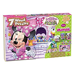 Disney's Minnie Mouse – 7 Wood Jigsaw Puzzles in Wood Storage Box