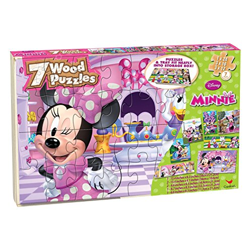 Minnie 7 Wood Puzzles In Wooden Storage Box
