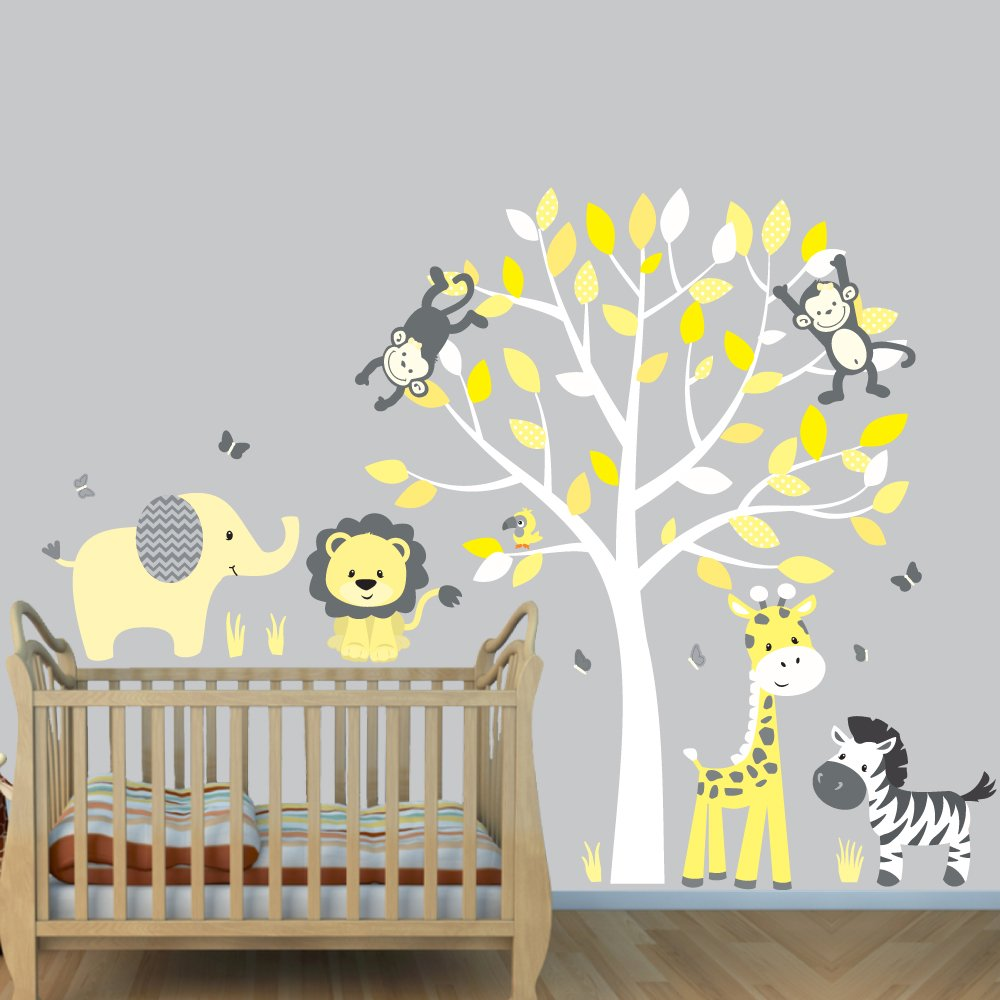 Yellow Gray, Jungle Animal Decals, Jungle Stickers, Vinyl Tree by Nursery Decals and More