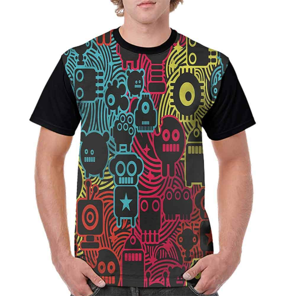 Cotton T-Shirt,Funky Rainbow Color Bands Fashion Personality Customization