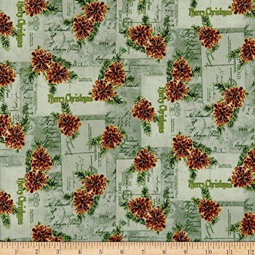 3 Pinecone Wide Light (P & B Textiles Christmas Memories Pine Cones Metallic Light Fabric by the Yard, Green)