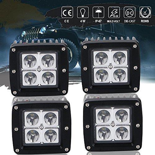 3X3 Spot OffRoad Driving Fog Lights Cube Pods Reverse Backup Windshield Work Lamp For Boat Truck Bumper Lamp Jeep Wrangler Cherokee Xj Rubicon Jk Marine Rzr Dodge Ram 1500 Ford F150 Atv Golf Cart