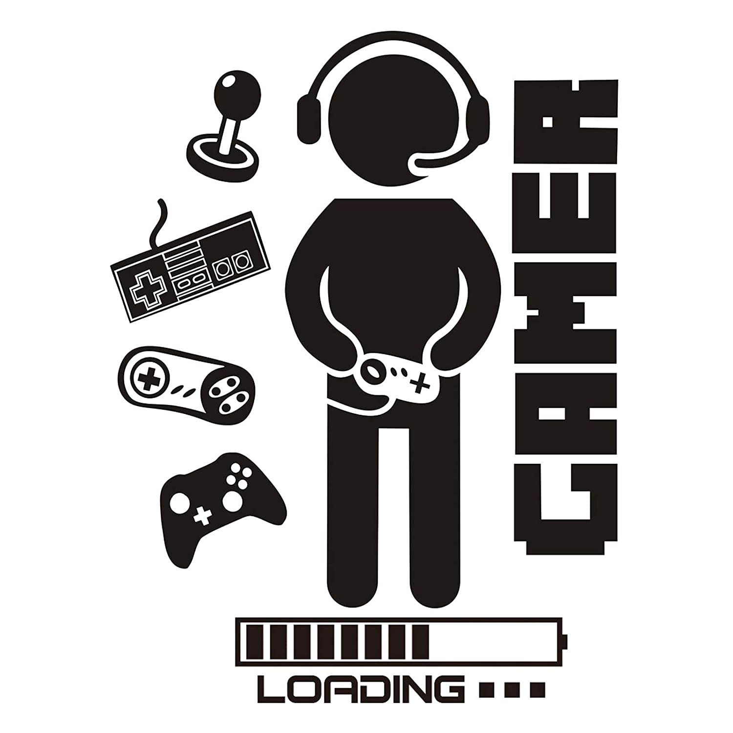 Gamer Room Wall Decals Stickers Boys Bedroom Decor Video Gaming Loading Controller Vinyl Playroom Teen Boy Large Wall Decoration Gifts