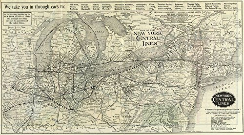 Home Comforts Laminated Poster Map of New York Central Railroad, Central Line, 1918 24x36 Poster Print ()