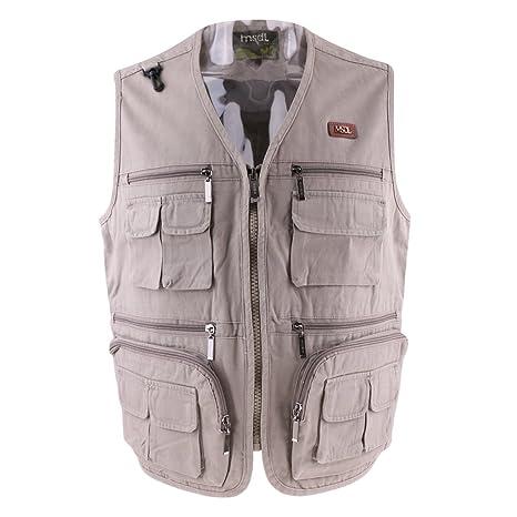 a351e384fe2e3 SunniMix Mens Multi Pockets Vest Fishing Hunting Waistcoat Travel  Photography Jackets - Beige, XL