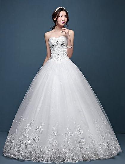 YL LY Vestido de Novia Simple Novia Sofocante Princesa Boda Princesa Vestido Delgado,UN,