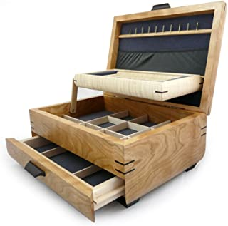 product image for Modern Artisans American Handmade Natural Cherry and Maple Wood Jewelry Box with Drawer