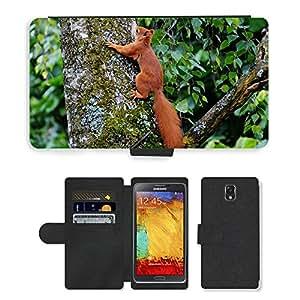 Super Stella Cell Phone Card Slot PU Leather Wallet Case // M00103749 Squirrel Animal Brown Nature Cute // Samsung Galaxy Note 3 III N9000 N9002 N9005