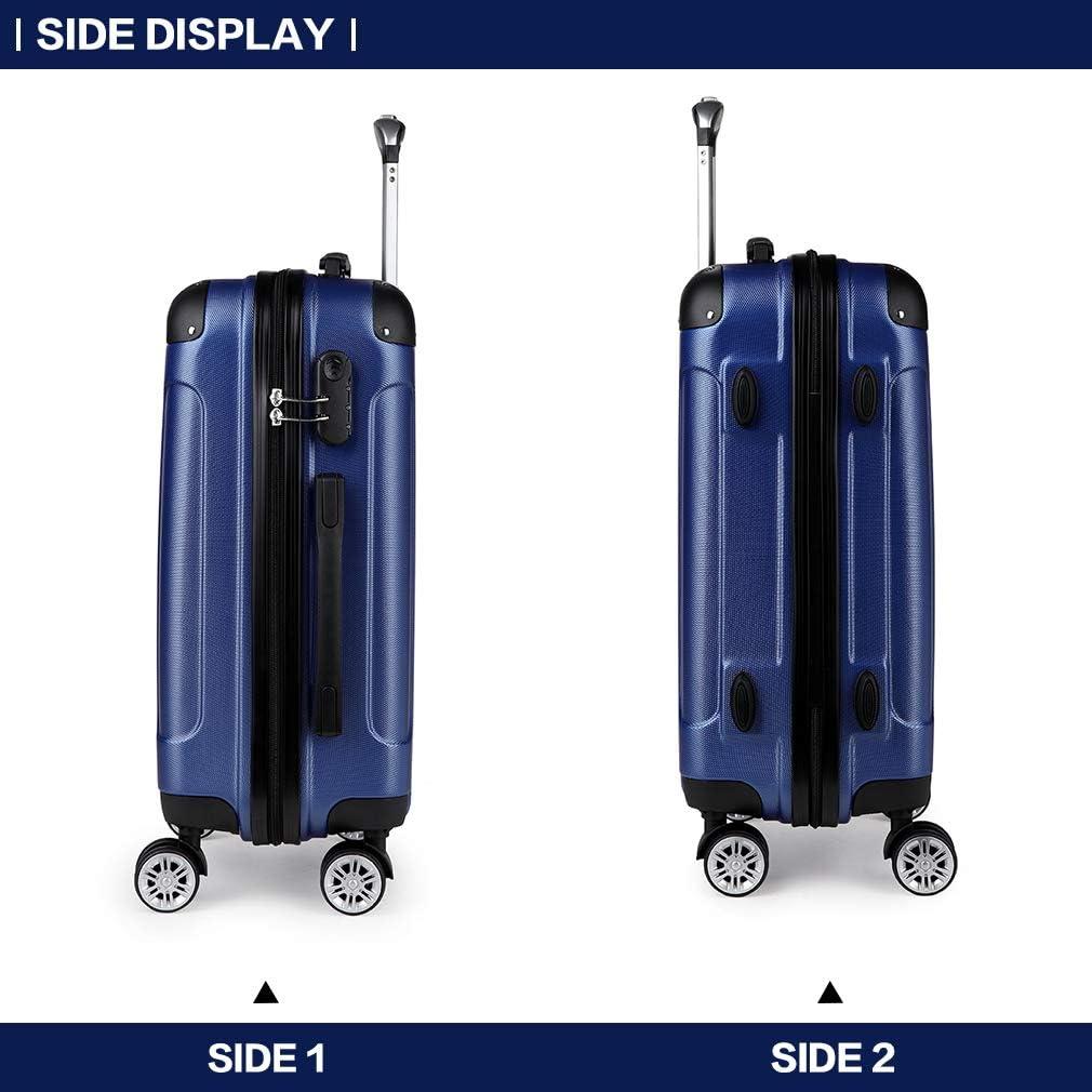 Kono Valise Cabine ABS Bagage /à Main Voyage Trolley Rigide et L/éger avec 4 roulettes Nouveau Marine petit-56cm
