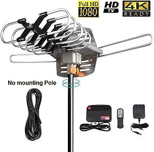 HDTV Digital Antenna -150 Miles Range w/ 360 Degree Rotation Wireless Remote - UHF/VHF/1080p/ 4K Ready(Without Pole). Upgraded 2020 Version