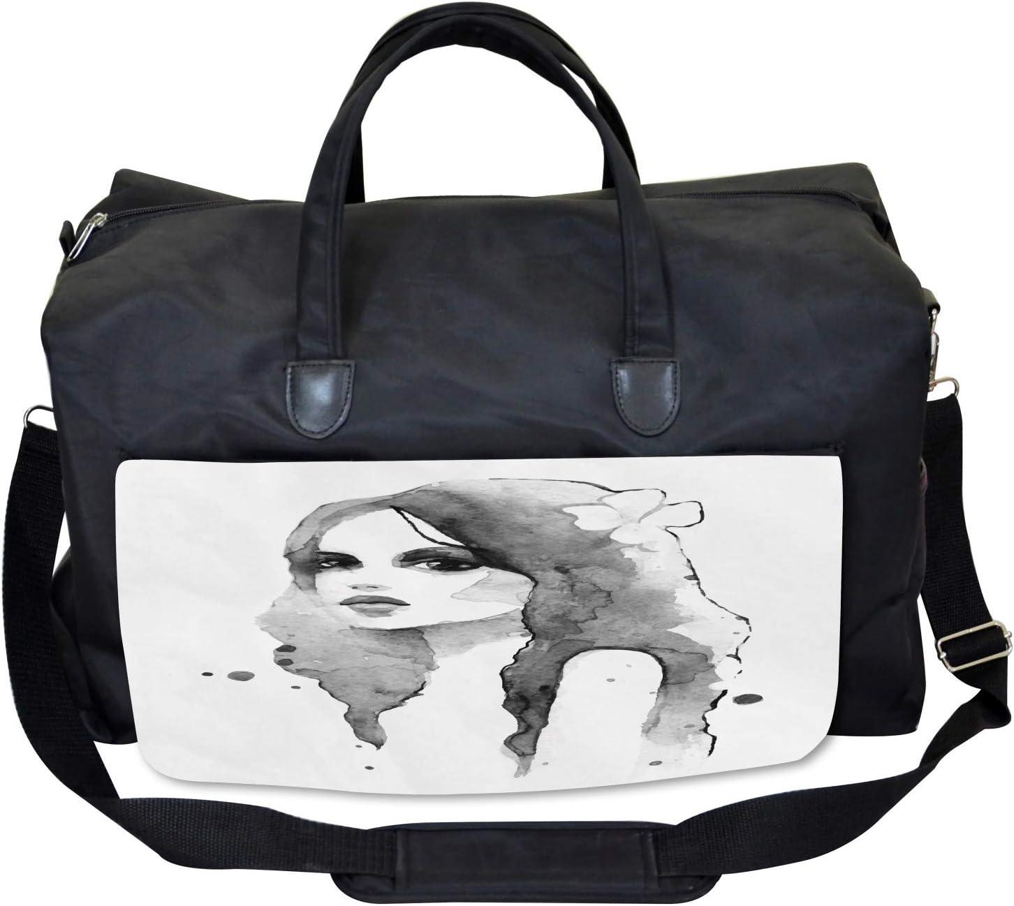 Large Weekender Carry-on Watercolor Portrait Art Ambesonne Feminine Gym Bag