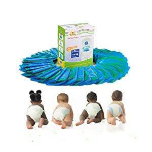 35 Packs 1 Box Diaper Refill Bags Baby Bathing with Toss and Hassle Free Blue Bags Green Ring,1050 Count Disposal Snap Seal Diaper Pail Liners,Fully Compatible with Arm&Hammer Disposal