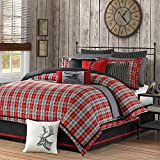 4 Piece Plaid Country Motif Comforter Set Queen Size, Warm Tartan Madras Scottish Style Pattern Checkered Boy Girl Unisex Bedding, Traditional Lodge Cabin Cottage Classic Guest Room, Red, Multicolored