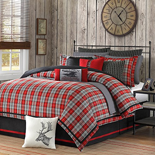 4 Piece Plaid Country Motif Comforter Set Queen Size, Warm Tartan Madras Scottish Style Pattern Checkered Boy Girl Unisex Bedding, Traditional Lodge Cabin Cottage Classic Guest Room, Red, (Cottage Plaid Bedskirt)