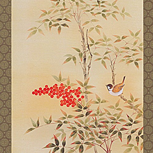 Tokyo Art Gallery ISHIHARA - Japanese Hanging Scroll - Kakejiku : Nandina / Nanten - with Paulownia Wood Box - Japan Imported [Standard ship by EMS (Expedited) : with Tracking & Insurance]