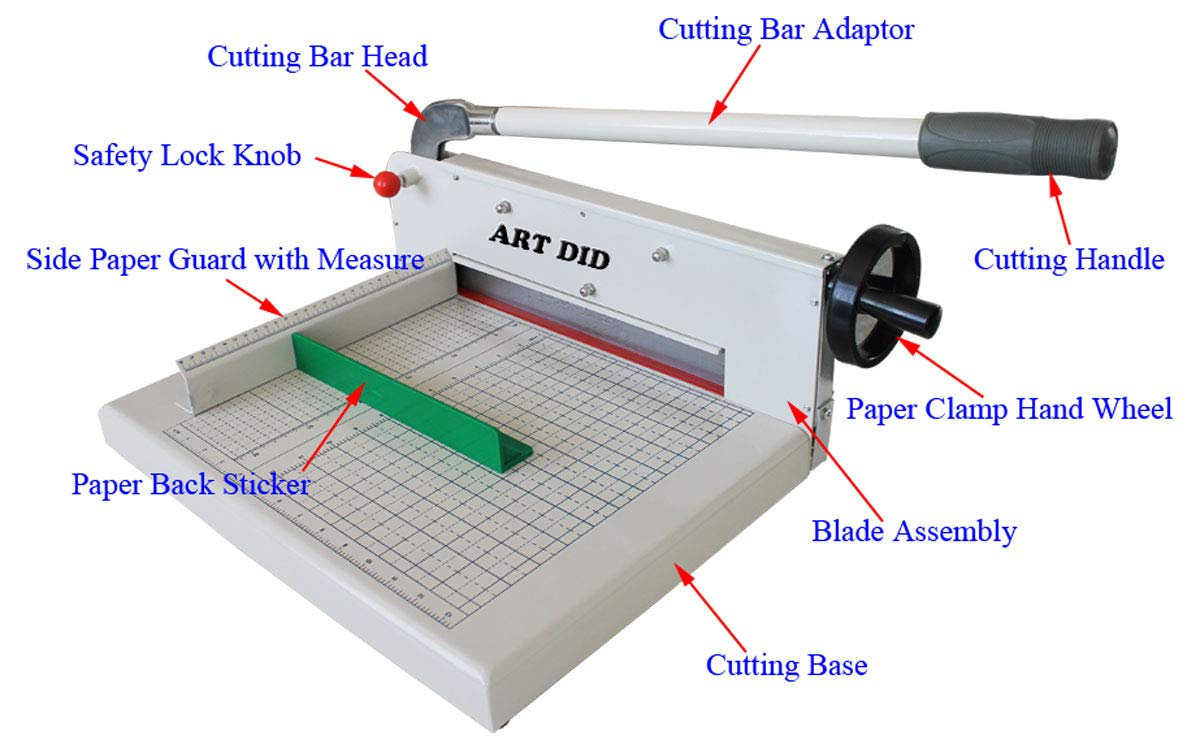INTBUYING Manual Paper Cutter/Trimmer Heavy Duty Guillotine Black Desktop A3 Size Guillotine Stack by INTBUYING (Image #5)