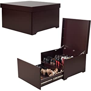 f58ecc9f7e3 Organizedlife High-Capacity Brown Shoe Box Cabinet Seat with Drawer Modern
