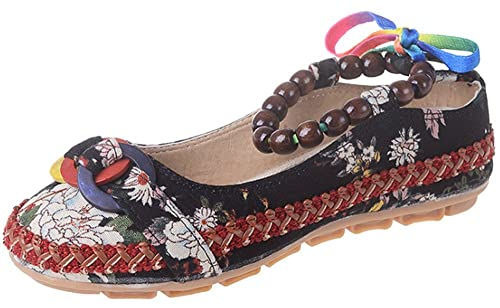 fda9bb5672a Labato Style Women s Folk Style Beaded Strappy Cloth Mary Jane Embroidered Flower  Flats Shoes
