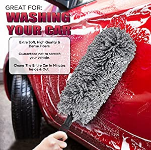 Car and Home Duster, 2 Piece Premium Exterior and Interior Vehicle Microfiber, Lint Free, Wax Free Cleaning Brushes with Zippered Case : Kit by Z&O