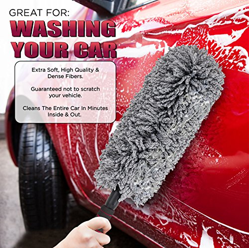Car And Home Duster 2 Piece Premium Exterior And Interior Vehicle Microfiber Lint Free Wax Free Cleaning Brushes With Zippered Case Kit By AUTOZIV