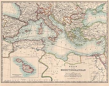Amazon.com: MEDITERRANEAN SEA. Submarine cables. Railways. JOHNSTON ...