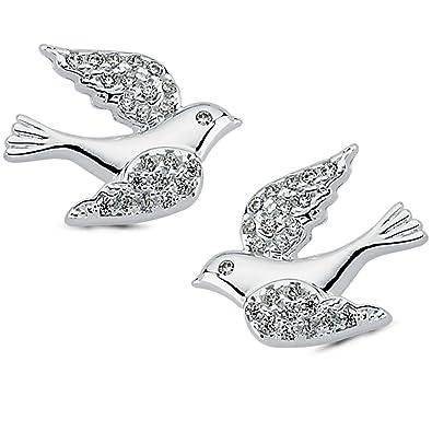 925 Sterling Silver Bird Stud Earrings