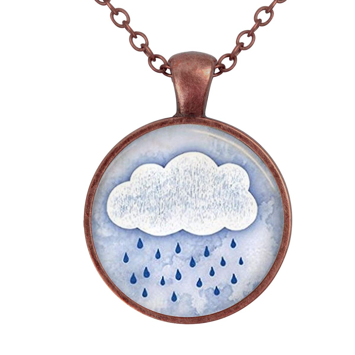 Lightrain Rain Cloud Rainy Day Pendant Spring Showers Weather Art Pendant Necklace Vintage Bronze Chain Statement Necklace Handmade Jewelry Gifts