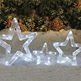 Brylanehome Set Of 3 Tinsel Stars (White,0)